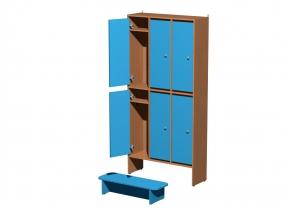 Шкафы для раздевалки в детском саду  2-х уровневые.