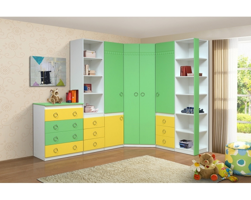 """Стеллаж Модуль №5 (зелено/желтый) Из набора детской мебели """"Горка 3Д"""""""