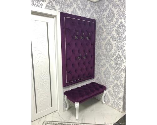 Комплект Для прихожей стеновая панель с крючками с банкеткой.