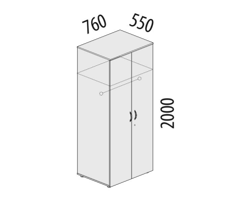 Шкаф для одежды большой с замком Альфа 63.42