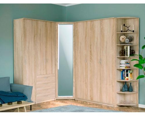 Шкаф комбинированный «Дуэт Люкс» с зеркалом (1500*450*2300) (ЭКО)