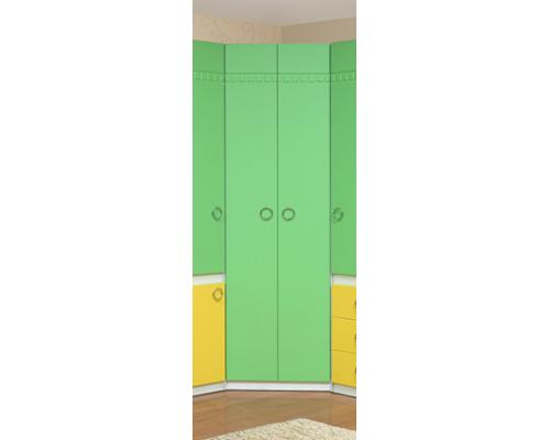 """Шкаф для платья и белья угловой Модуль №4 (зелено/желтый) Из набора детской мебели """"Горка 3Д"""""""