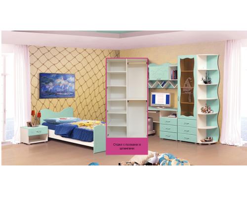 Шкаф для платья и белья 2-х дв. Набор мебели «МОРЕ» фасад МДФ