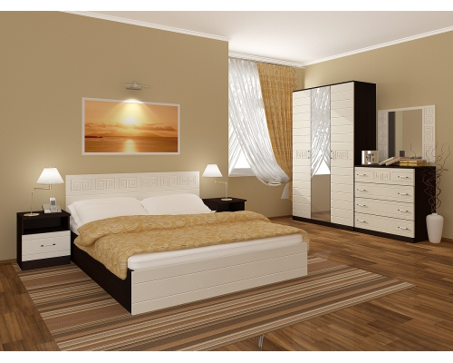 "Спальный гарнитур ""Афина"" МДФ кровать 1,4 м. шкаф 4-х створчатый"