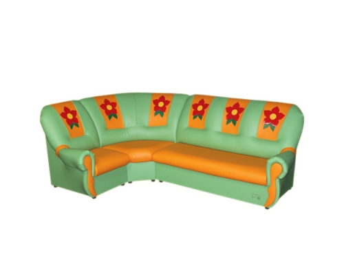 «Вита с аппликацией»  комплект мягкой угловой мебели - (3+1+1)