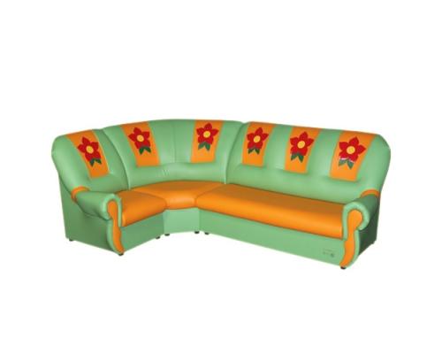 «Вита с аппликацией»  комплект мягкой угловой мебели - (3+1+3)