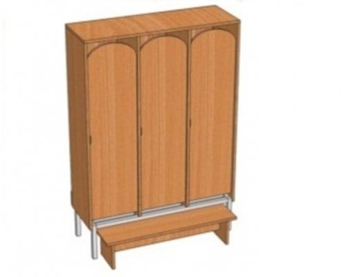 Шкаф 3-местный металлокаркасный Ш.ДТ.3.1 (м)  (964*330*1400)