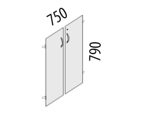 Двери ЛДСП 2 секции с замком Альфа 61.59