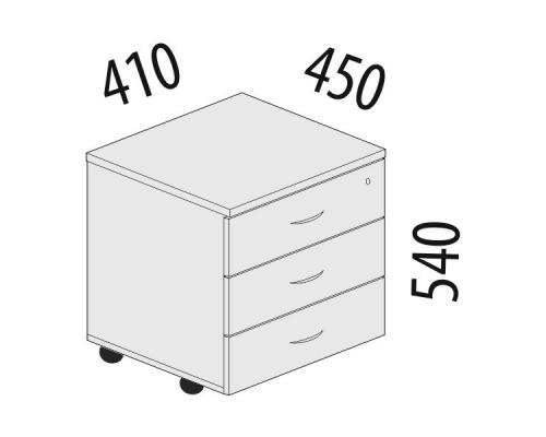 Тумба офисная 3 ящика с замком Лидер-Престиж 83.10