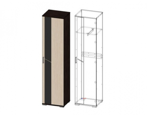 Шкаф со стеклом Поло-1 ШК02(500*2100*422)