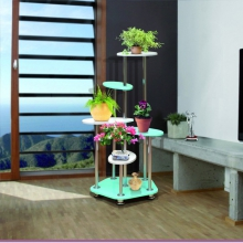 Цветочница-1 МДФ (стол декоратив.) металлик(640*640*1272) (Аджио)