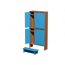 Шкаф для одежды 2-х уровневый 6 секционный  904*300*1900мм