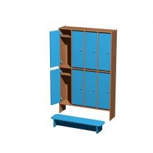 Шкаф для одежды 2-х уровневый 8 секционный  1200*300*1900мм