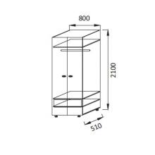 Юниор-6 ПМ-2 Шкаф для детского платья(510*2100*800)
